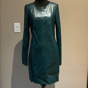 NWT BCBG Green Leather and Mesh Dress
